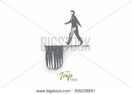 Dangerous Path Metaphor, Man Moving To Hole Trap With Sharp Spikes