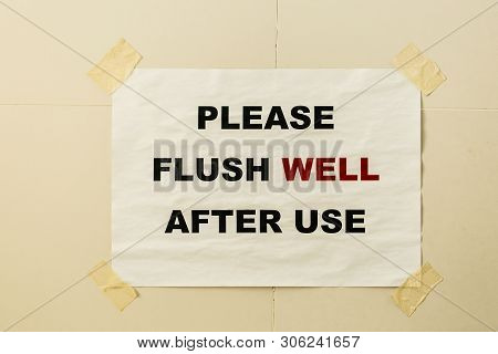 paper print flush slogan on toilet wall poster