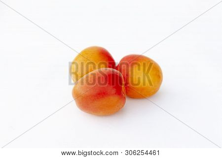 Fresh Organic Apricot On White Background. Variety: Galta Roja, Bulida. Other Varieties: Canino, Nan