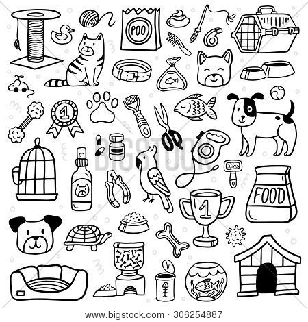 Pet Shop Stuff And Lovely Pets. Black And White Vet Symbol Collection In Doodle Style. Cartoon Dogs,