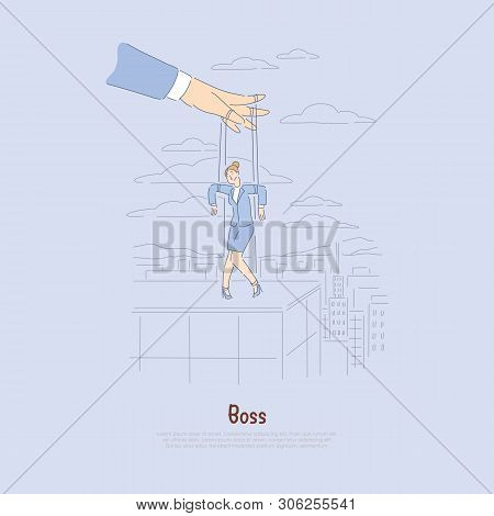 Employer Controlling Worker, Stressed Employee Metaphor, Strings Attached Woman, Supervisor Control