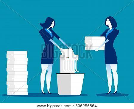 A Businessman Is Shredding Important Documents. Concept Business Vector Illustration.
