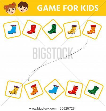 Matching Game, Educational Game For Kids. Find  The Appropriate Pair Of Rubber Boots. Children Funny