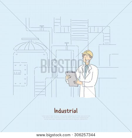 Factory Supervisor In White Coat Studying Report, Chief Engineer Analyzing Manufacturing Statistics