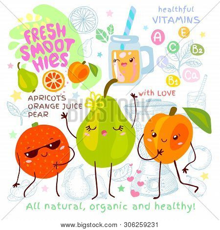 Fresh Smoothie Recipe Cute Kawaii Characters. Fruits Ingredients Glass Jar Vitamin Funny Style. Oran