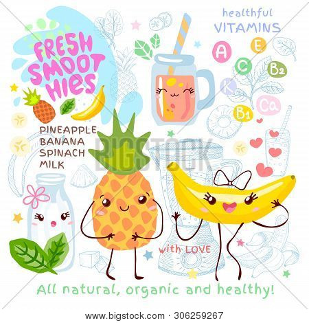 Fresh Smoothie Recipe Cute Kawaii Characters. Fruits Ingredients Glass Jar Vitamin Funny Style. Bana
