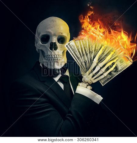 An Art Illustration Of A Skeleton In A Business Suit With A Cash In Hand Burning. A Concept About Wa