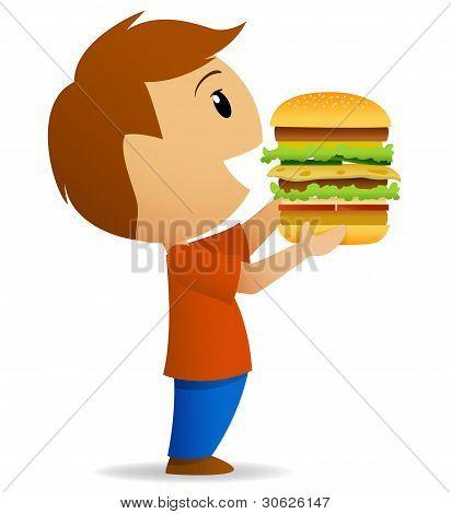 Young Men Going To Eat Hamburger