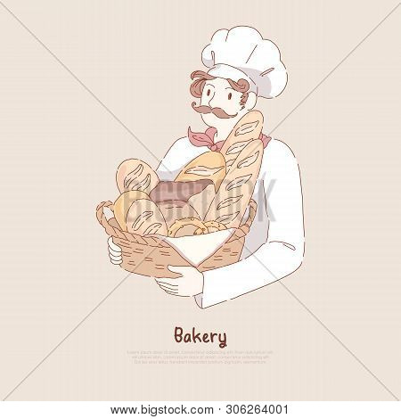 Young Man In Chef Cap Holding Basket With Homemade Baking, Delicious Pastry, Baguette, Pretzel, Bake