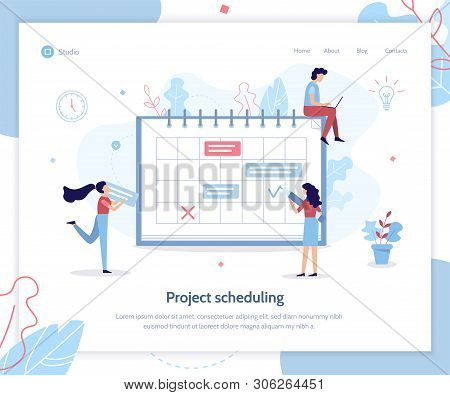 Project Sheduling. Time Management Concept. Creative Landing Page Design Template. Flat Vector Illus