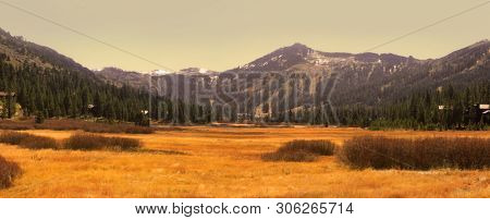 Eastern Sierra mountains panoramic view near Lake Tahoe