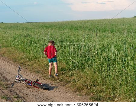 A Child On A Bicycle. Beautiful White Clouds In The Sky Float Above The Field.