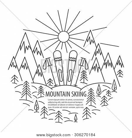 Mountains Skiing Template In Linear Style. Ski In Snow Banner. Vector Illustration