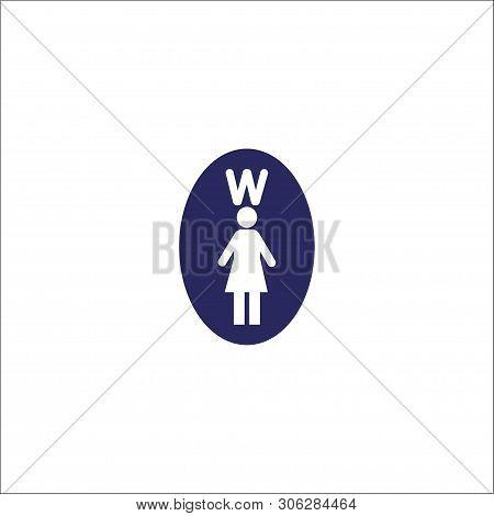 Woman Toilet, Washroom Icon Isolated Sign Symbol. Flat Vector Illustration.