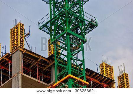 Construction Sie With Concrete Walls And Crane Part, Detail