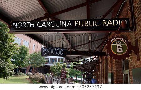 Durham,nc/usa - 10-23-2018: Wunc, Npr Radio Station In The American Tobacco Complex In Downtown Durh