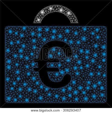 Bright Mesh Euro Bookkeeping Case With Glare Effect. Abstract Illuminated Model Of Euro Bookkeeping