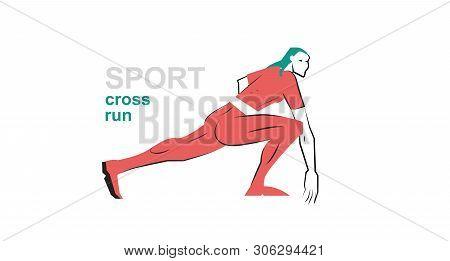 Sports Running. Running Girl In Green Uniform. Sports Girl Drawing Illustration On The Theme Of Spor