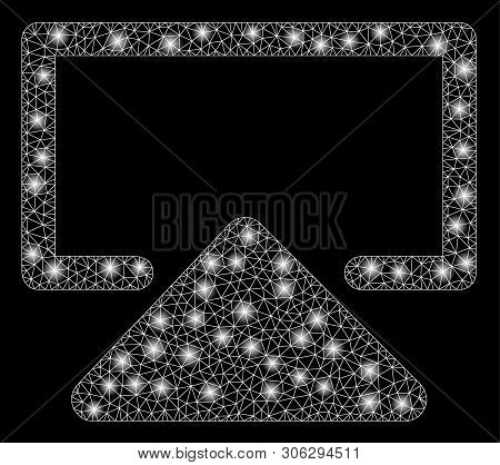 Bright Mesh Enter With Glare Effect. Abstract Illuminated Model Of Enter Icon. Shiny Wire Carcass Po