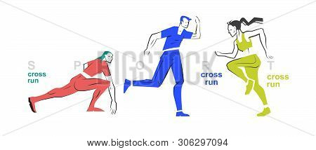 A Set Of Athletes Running. Mia Sports. Beautiful Graphics On A Sports Theme. Color Illustration Of T