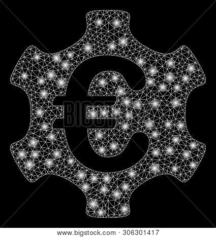 Bright Mesh Euro Industry With Glare Effect. Abstract Illuminated Model Of Euro Industry Icon. Shiny