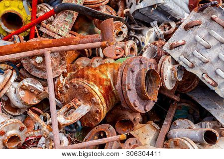 Different Shapes And Sizes Of Cut Old Valves And Equipment, Industrial Scrap Metal, After Cassation