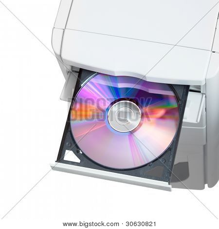 Computer with dvd in open tray