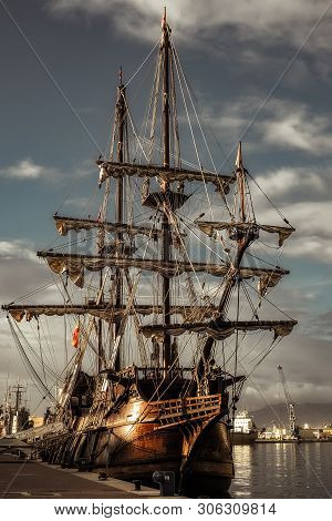 Malaga, Spain - December 26, 2017. 17th Century Spanish Galleon Replica In Malaga Port, Spain