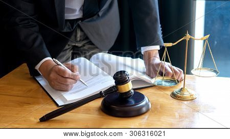 Judge Lawyer Gavel Work In Office With  Balance