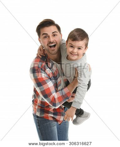 Portrait Of Dad Playing With His Son Isolated On White