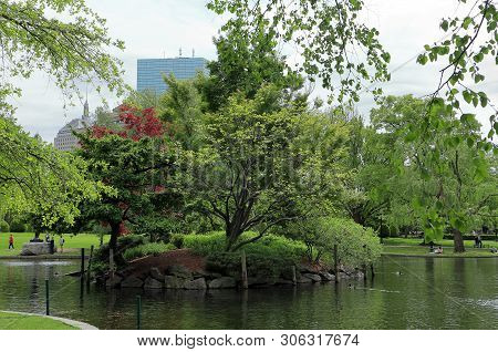 Boston, Massachusetts - May 23, 2019: Gorgeous Views Of The Pond At The Boston Public Garden