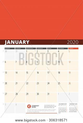 Wall Calendar Planner For 2020 Year. Vector Design Print Template With Place For Photo. Week Starts