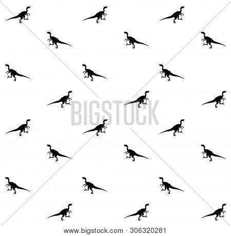 Vector Seamless Pattern Of Silhouette Of Velociraptor Dinosaur Isolated On White Background