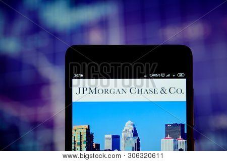 Jpmorgan Chase Logo Seen On The Smartphone
