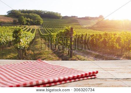 Vineyard tabletop design. Wine background. Autumn design with vineyard and empty display. Autumn grapes harvest poster