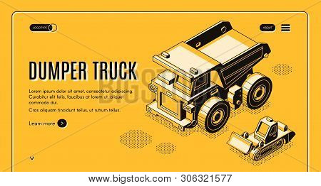 Heavy Industry And Mining Company Transport And Machinery Isometric Web Banner With Haul Dumper Truc