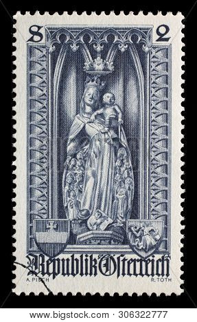AUSTRIA - CIRCA 1969: Stamp printed in the Austrian, is dedicated to 500th anniversary of Diocese of Vienna, shows the statue of Protective mantle Madonna in St. Stephens Cathedral, Vienna, circa 1969