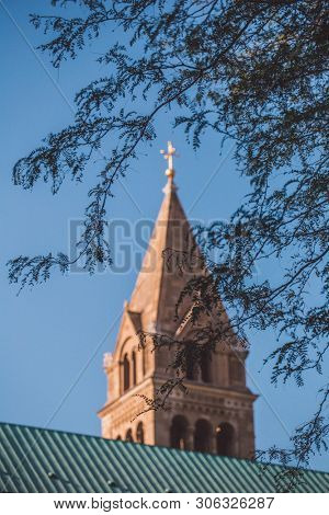 PECS, HUNGARY - JUNE 2019: Tower of the cathedral in the downtown of Pécs June 2019, Hungary