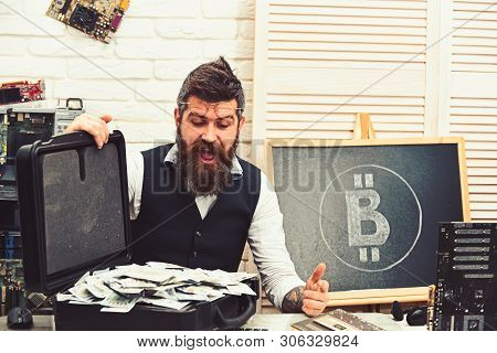So Good To Be Rich. Bearded Man With Cash Money. Business Man In Server Room. Bearded Hipster With B