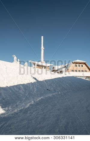 Lysa Hora Hill With Communication Tower And Hut In Moravskoslezske Beskydy Mountains In Czech Republ