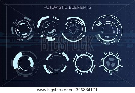 Technology Futuristic Modern User Interface Circle Shapes. Hud Elements. Futuristic Sci Fi Abstract