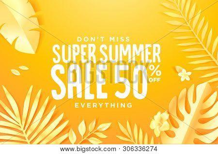 Summer Sale. Web Banner Template Design. Concept For Website Design, Advertising, Social Media Banne