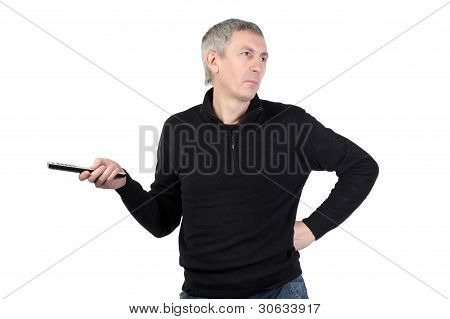 man changing channel with a remote control
