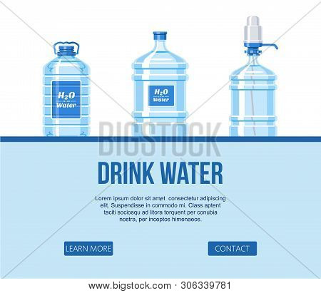 Drink Water In Plastic Bottle Set On White Background Website Design Banner Vector Illustration. Hea
