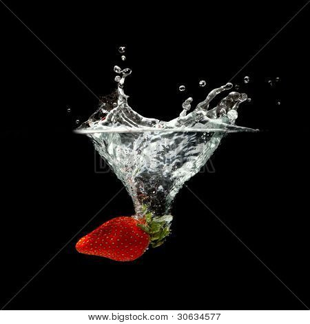 Strawberry Splashing In Water