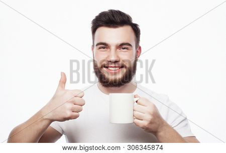 Good morning, man holding a cup tea. Morning concept.  poster