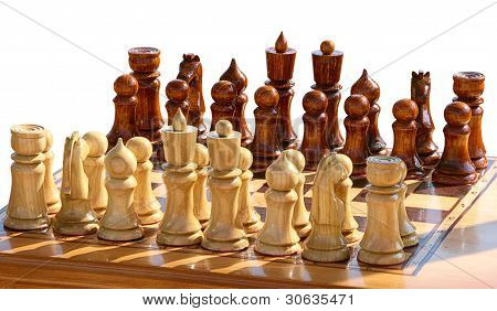 set of chess figurines on playing board