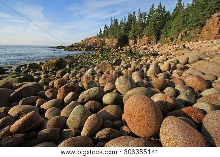 The Rugged Coast Of Acadia National Park, Maine, Bathed In Early Morning Light In Summer.
