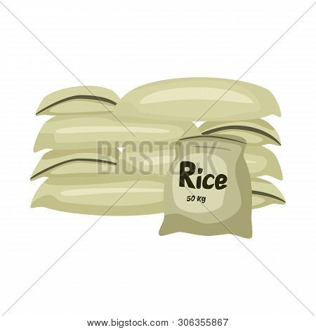 Vector Illustration Of Bag  And Rice Sign. Collection Of Bag  And Wholesale    Vector Icon For Stock
