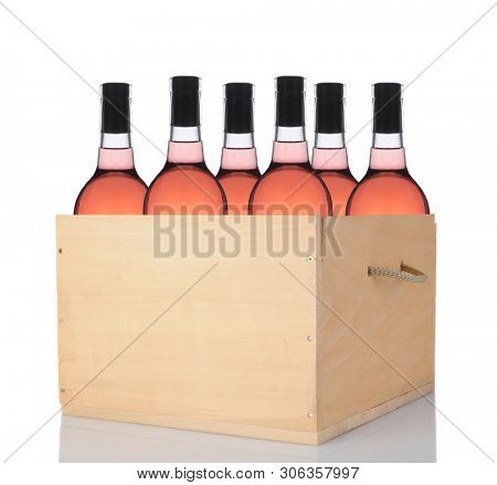 Six Blush Wine Bottles in a wooden crate. Vertical format isolated on white with reflection.